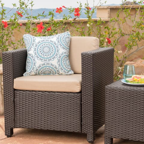 Puerta Outdoor Wicker Club Chair with Cushions by Christopher Knight Home
