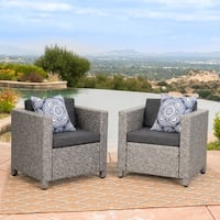 Puerta Outdoor Wicker Club Chair with Cushions (Set of 2) by Christopher Knight Home