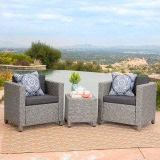 Puerta Outdoor 3-piece Wicker Seating Set with Cushions by Christopher Knight Home