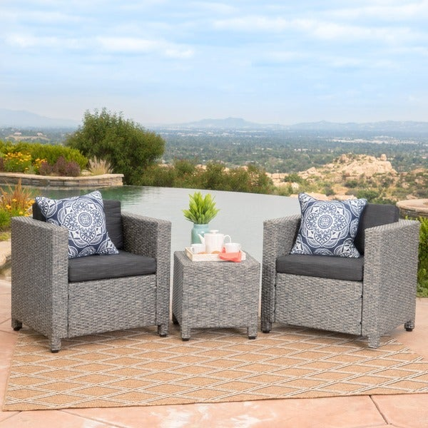 Puerta Outdoor 3 Piece Wicker Seating Set With Cushions By Christopher  Knight Home