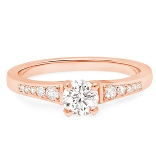 LeZari and Co. 0.65ct TDW Classic graduated Engagement Ring, Pave, petite and delicate in 14K White Yellow and Rose gold.