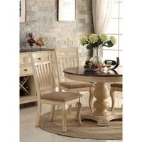 Audric Cream Wood Dining Chairs with Light Brown Upholstered Seats