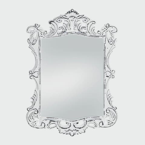 Royal Antique-Style White Wall Mirror - Antique White