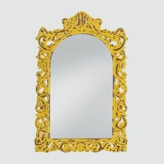 Berkley Antique-Style Yellow Mirror - Amber