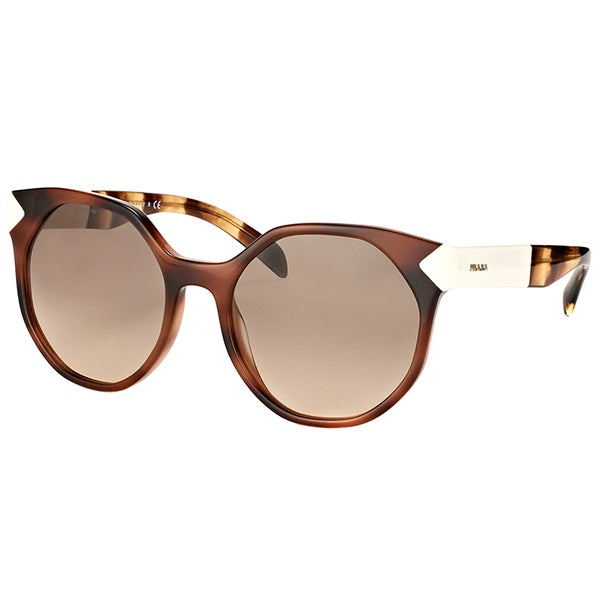 d3458dcdaa7 Prada PR 11TS USG3D0 Havana White Plastic Cat-Eye Sunglasses Brown Gradient  Lens