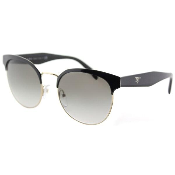 18e05e6160 Prada PR 61TS 1AB0A7 Black And Gold Metal Square Sunglasses Light Grey  Gradient Lens