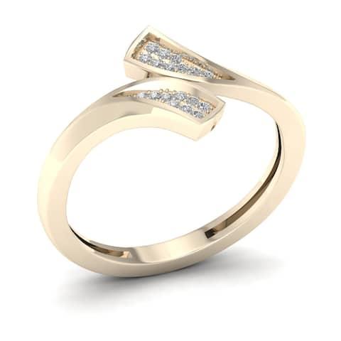 De Couer IGI Certified 1/20ct TDW Diamond Double Fashion Ring - Yellow