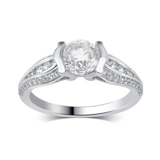 Divina 14K White Gold 1 1/2ct TDW Diamond Engagement Ring comes in a box. G-H/SI-I1