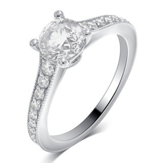 Divina 14K White Gold 1 1/3ct TDW Diamond Engagement Ring comes in a box. G-H/SI-I1