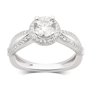 Divina 14K White Gold 1 5/8ct TDW Diamond Engagement Ring comes in a box. G-H/SI-I1