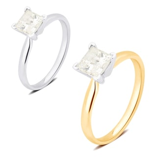 Divina 14K White and Yellow Gold 1.00ct TDW Princess Diamond  Engagement Ring c