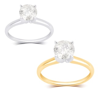 Divina 14K White and Yellow Gold 1 1/4ct TDW Diamond Engagement Ring comes in a box. J