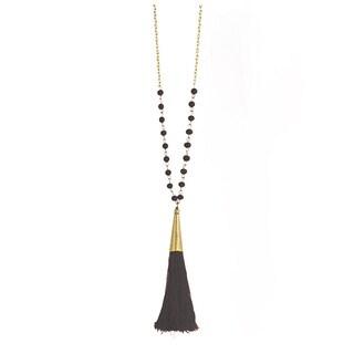 Silk Thread Tassel Gold & Bead Long Necklace