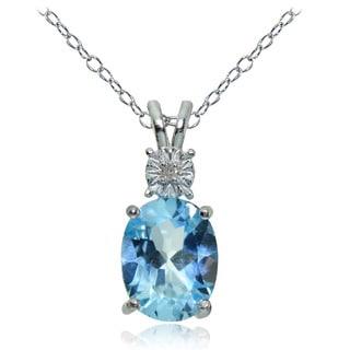Glitzy Rocks Sterling Silver Blue Topaz and Diamond Accent Oval Necklace
