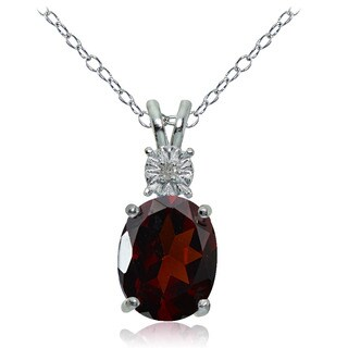 Glitzy Rocks Sterling Silver African Garnet and Diamond Accent Oval Necklace - Multi