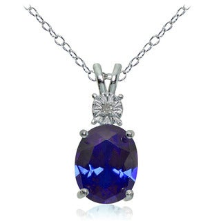 Glitzy Rocks Sterling Silver Created Blue Sapphire and Diamond Accent Oval Necklace