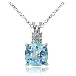 Glitzy Rocks Sterling Silver Blue Topaz and Diamond Accent Cushion-cut Necklace