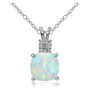 Glitzy Rocks Sterling Silver Created White Opal and Diamond Accent Cushion-cut Necklace