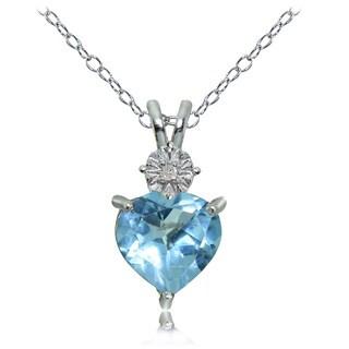 Glitzy Rocks Sterling Silver Blue Topaz and Diamond Accent Heart Necklace