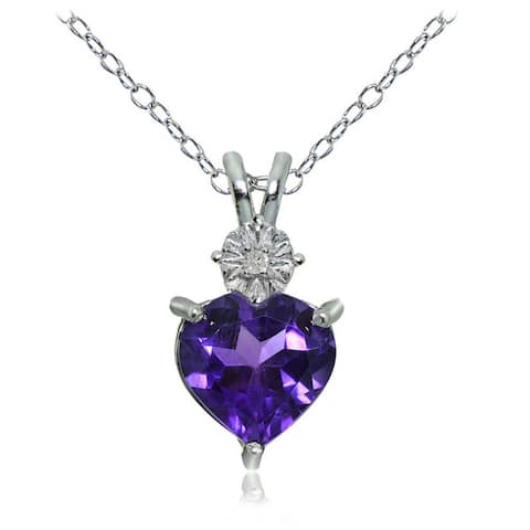 Glitzy Rocks Sterling Silver African Amethyst and Diamond Accent Heart Necklace - African Amethyst - African Amethyst