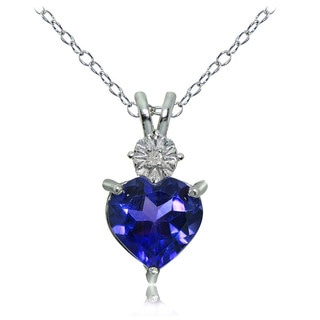 Glitzy Rocks Sterling Silver Created Blue Sapphire and Diamond Accent Heart Necklace
