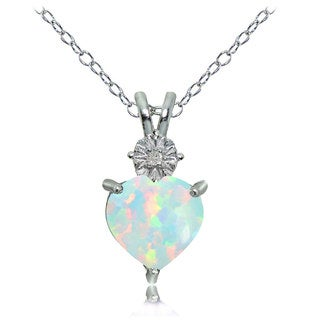 Glitzy Rocks Sterling Silver Created White Opal and Diamond Accent Heart Necklace