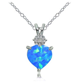 Glitzy Rocks Sterling Silver Created Blue Opal and Diamond Accent Heart Necklace