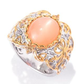 Michael Valitutti Palladium Silver Oval Peach Moonstone & Golden Sapphire Scrollwork Ring