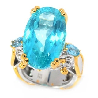 Michael Valitutti Palladium Silver Paraiba Color Topaz & Swiss Blue Topaz Cocktail Ring