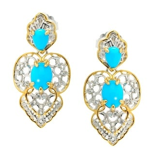 Michael Valitutti Palladium Silver Italy Sleeping Beauty Turquoise Drop Earrings