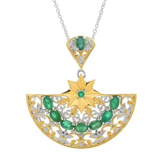 Michael Valitutti Palladium Silver Italy Emerald Half Circle Pendant