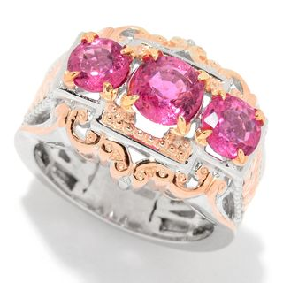 Michael Valitutti Palladium Silver Graduated Rubellite Three-Stone Leaf-Detailed Ring (3 options available)
