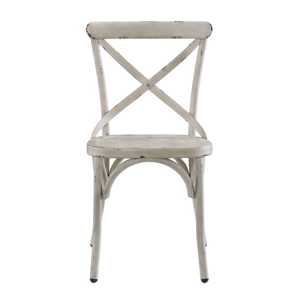 Shop Distressed Antique White Metal Dining Chair Free