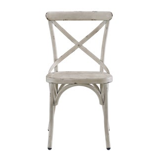 Distressed Antique White Metal Dining Chair