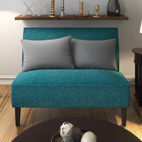 Porch & Den Umatilla Button-tufted Blue and Green Tweed Settee