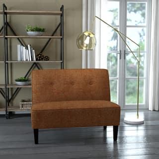 Porch & Den Umatilla Button Tufted Orange Tweed Settee