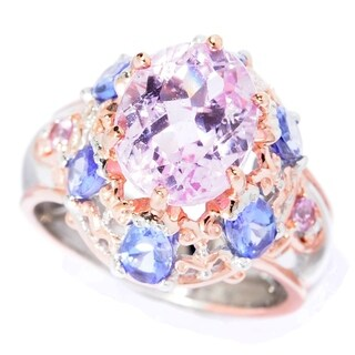 Michael Valitutti Palladium Silver Kunzite, Tanzanite & Pink Sapphire High-Set Ring