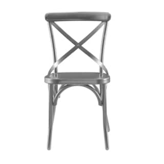 Distressed Antique Black Metal Dining Chair