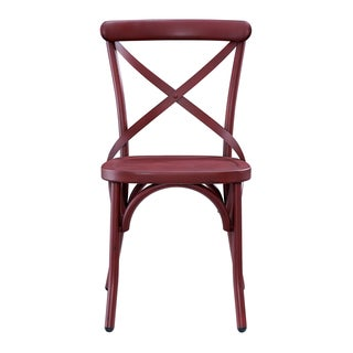 Distressed Antique Red Metal Dining Chair