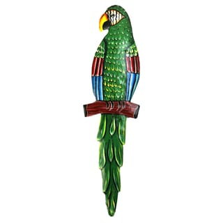 Green Painted Metal Parrot Wall Art