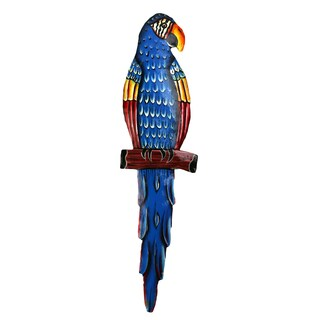 Blue Painted Metal Parrot Wall Art
