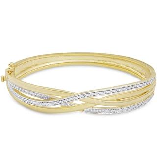 Finesque Gold Overlay Diamond Accent intertwine Bangle (I-J, I2-I3)