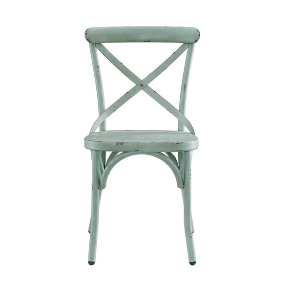 Blue Metal Dining Chairs distressed antique blue metal dining chair - free shipping today