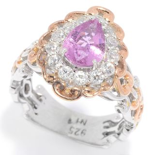 Michael Valitutti Palladium Silver Pink Sapphire & White Zircon Halo Ring