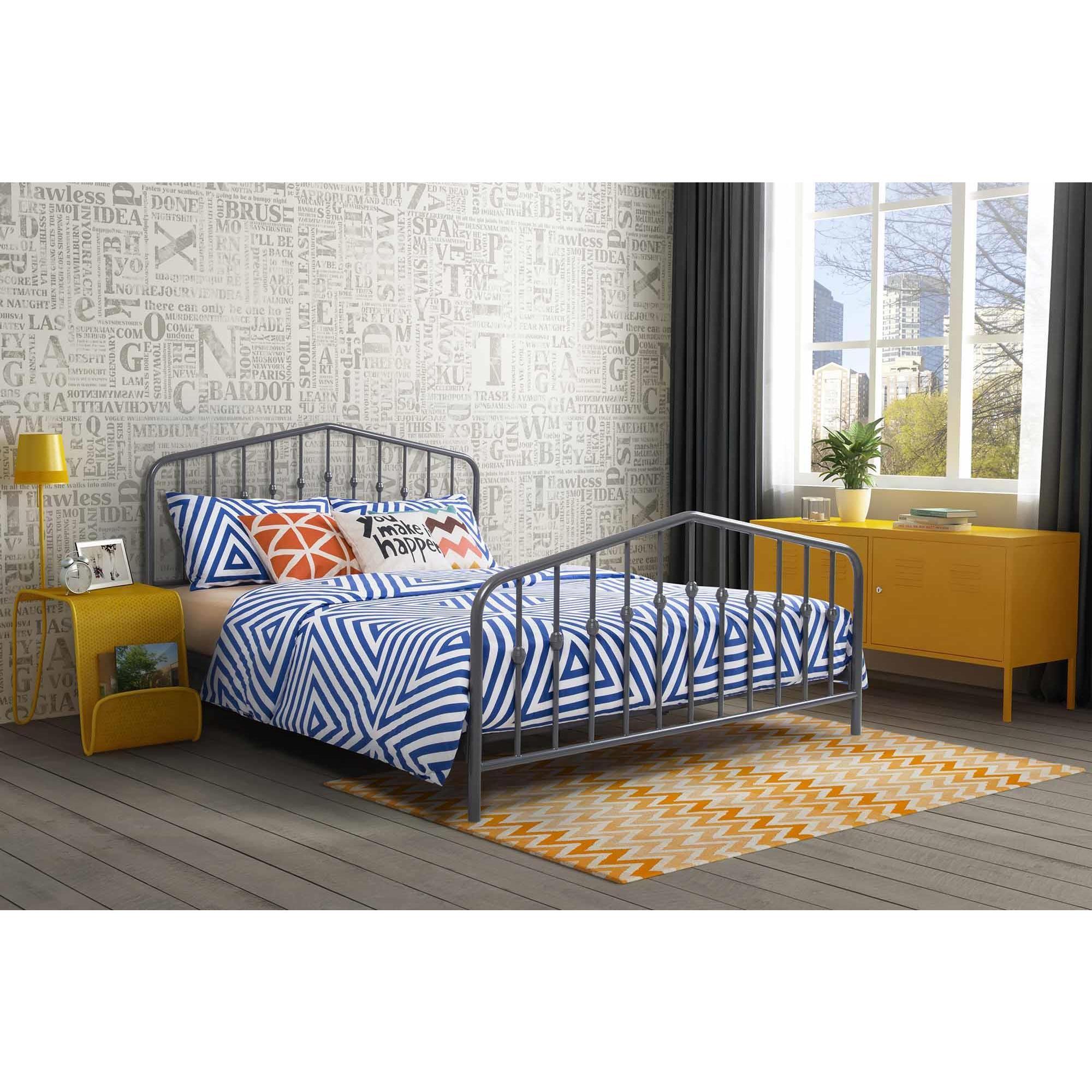 Novogratz Bushwick Grey Metal Bed Overstock 15634846