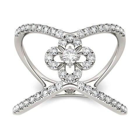 Charles & Colvard 14k White Gold 1/2ct DEW Forever Brilliant Moissanite Open Flower Fashion Ring