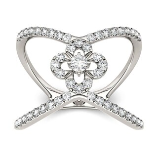 Charles & Colvard 14k White Gold 1/2ct DEW Forever Brilliant Moissanite Open Flower Fashion Ring