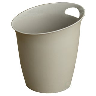 Small Beige Plastic Wastebasket with Handle