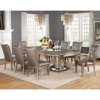 Glamour Design Metallic Platinum Rhinestone Button Tufted Dining Set|https://ak1.ostkcdn.com/images/products/15634881/P22066234.jpg?impolicy=medium