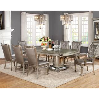 Glamour Design Metallic Platinum Rhinestone Button Tufted Dining Set with Buffet Server